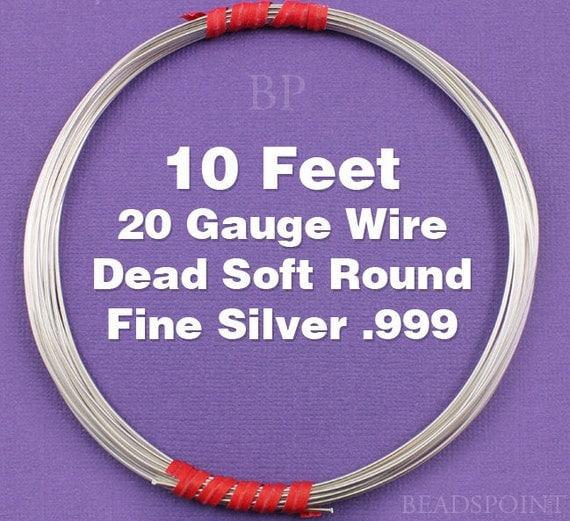 Fine Silver .999 20 Gauge Dead Soft Round Wire on Coil, Pure Silver  Wrapping Wire (10 FEET)