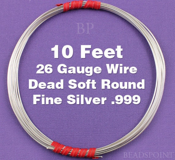 Fine Silver .999 26 Gauge Dead Soft Round Wire on Coil, Pure Silver  Wrapping Wire (10 FEET)