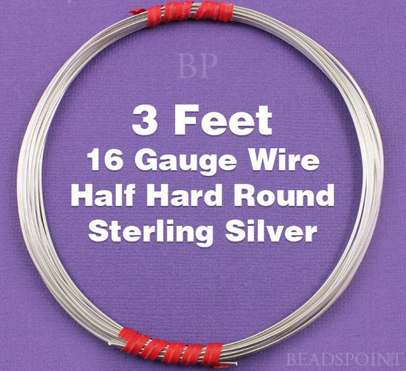 Sterling Silver  .925 16 Gauge Half Hard Round Wire on Coil,  Wrapping Wire (3 FEET)
