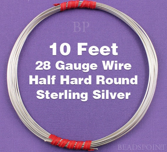 Sterling Silver  .925 28 Gauge Half Hard Round Wire on Coil,  Wrapping Wire (10 FEET)