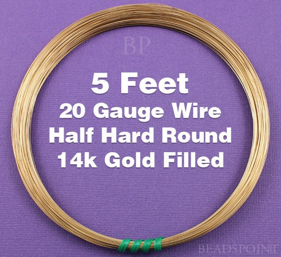 14k Gold Filled, 20 Gauge Half Hard Round Wire Coil,  Wrapping Wire (5 FEET)