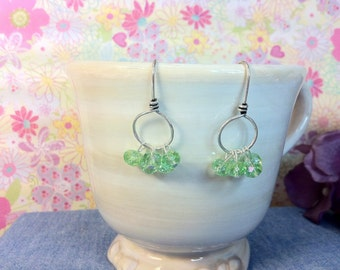 Light Green Faceted Crystal AB Earrings
