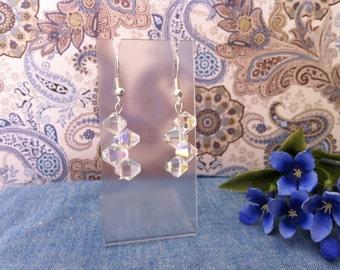 Clear AB Crystal Earrings.