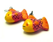Vintage Fish Earrings Dangling Orange Yellow Tropical Caribbean Beach Jewelry