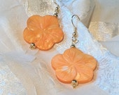 Sunny Peach Blossom Earrings Mother of Pearl Handmade Jewelry