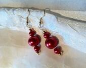 Scarlet Power Ball Pearl Earrings