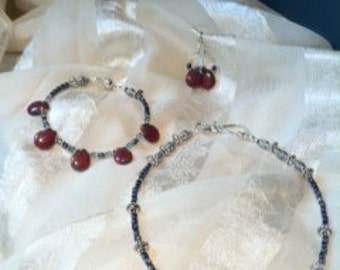 Vintage Inspired Picasso Bead Necklace Bracelet & Earrings Set