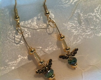Pretty Wings Gold & Green Earrings