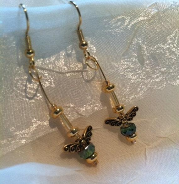 Pretty Wings Gold & Green Earrings