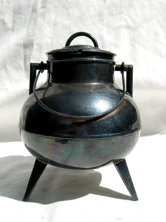 Unusual Black Cauldron Sugar Bowl,  Vintage Silver