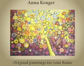 Colourful ORIGINAL  Abstract  'The Magical Tree' painting by Anna Kruger