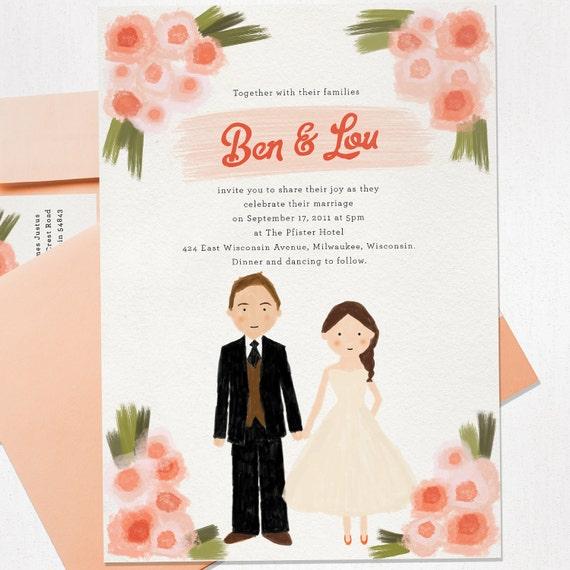 Custom Illustrated Wedding Invitation - Hand Drawn Invite