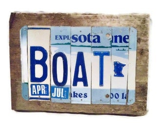 License Plate Sign - Boat Minnesota - MN Summer Cabin Sign - Blue and White Sign - Rustic Reclaimed Wood Sign - Bar Sign - Mancave Sign