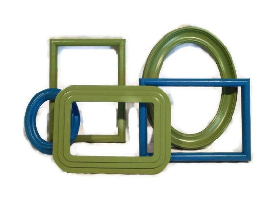 FRAME GALLERY SALE - 25% Off - Picture Frame Gallery - Bright Green and Teal Blue - Set of Five