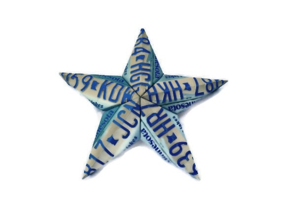 License Plate Star - Minnesota - Blue and White