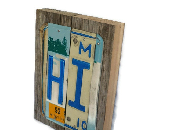License Plate Sign - Hi - Blue and White