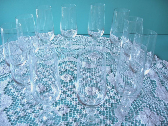 Crystal Champagne Flutes, Champagne Flutes, Set of 12, Vintage Wedding, table setting, wedding shower