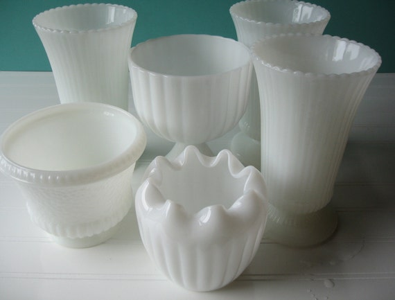 RESERVED FOR LAUREN,  Milk Glass Wedding Vases, Table Setting, Set of 6 Vases, Instant Collection, Vintage Wedding