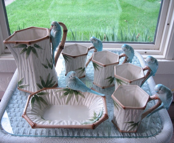 Fitz and Floyd, Parakeet , Pitcher and mugs, Collectibles, Budgie, Wedding, bamboo, tropical, table setting, bridal shower