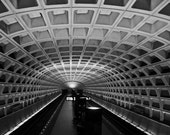 Classic Black and White Photograph, Washington DC Metro Subway Station - Underground (11x14)