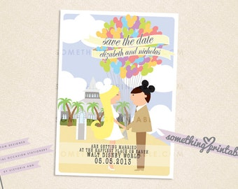 Happy Couple - Printable Disney Inspired Cartoon Couple Save the Date Design featuring Disney's Wedding Pavilion