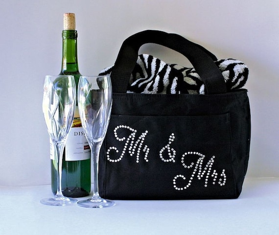 Wedding Keepsake Gifts For The Bride : Stock the bar gift for them Monogram wedding welcome bags Bridal ...