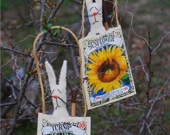 Handmade seedpack rabbits retired seed pack packaging
