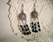 Tibetan Silver Dangle Earrings with Onyx and Blue and Purple Swarovski Crystals