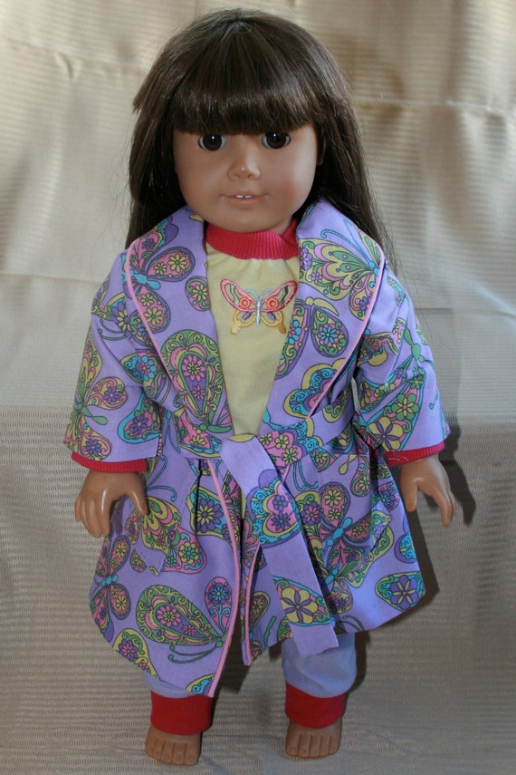 Bedtime -- Purple and yellow butterfly robe and coordinating pajamas