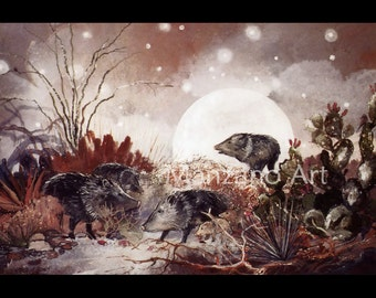 Eco Art Print Wild Pig Art Wildlife Art Print Peccary Moonlight Art Print
