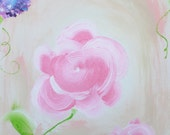 11x14 Original One of a Kind Shabby Chic Cottage Chic Acrylic Rose Hydrangea Painting