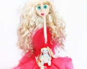 "Angelina ""The Flirty Fairy"" OOAK Fantasy Articulated Art Doll Fuchsia Pink Dress Fairy Wings Sculpted Bunny RESERVED"