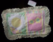 Flat Tooth Fairy pillow Nursery floral print with Ivory lace   Item F-TFP-G-02