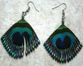 Peacock feather,beads  Earrings