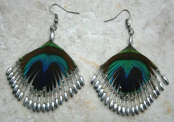 Peacock feather, silver beads  Earrings