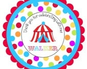 Circus Carnival    Round Labels Stickers for party favors, gift tags, or address labels