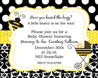 12 Bumble Bee Baby Shower invitations- little honey