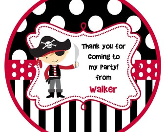 pirate Round Labels Stickers for party favors, gift tags, or address labels