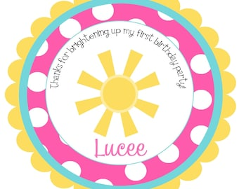 Sunshine Round Labels Stickers for party favors, gift tags, or address labels reserved for Elizabeth