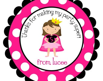 Super Girl Superhero  Supergirl  Round Labels Stickers for party favors, gift tags, or address labels