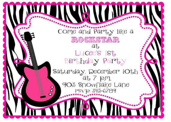 12  Rock Star  Guitar Birthhday party or Baby Shower invitations with envelopes