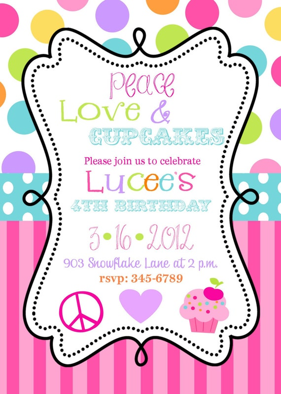 12 Peace Love Cupcakes Birthhday Party by noteablechic on Etsy