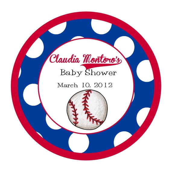 Baseball Round Labels Stickers for party favors, gift tags, or address labels