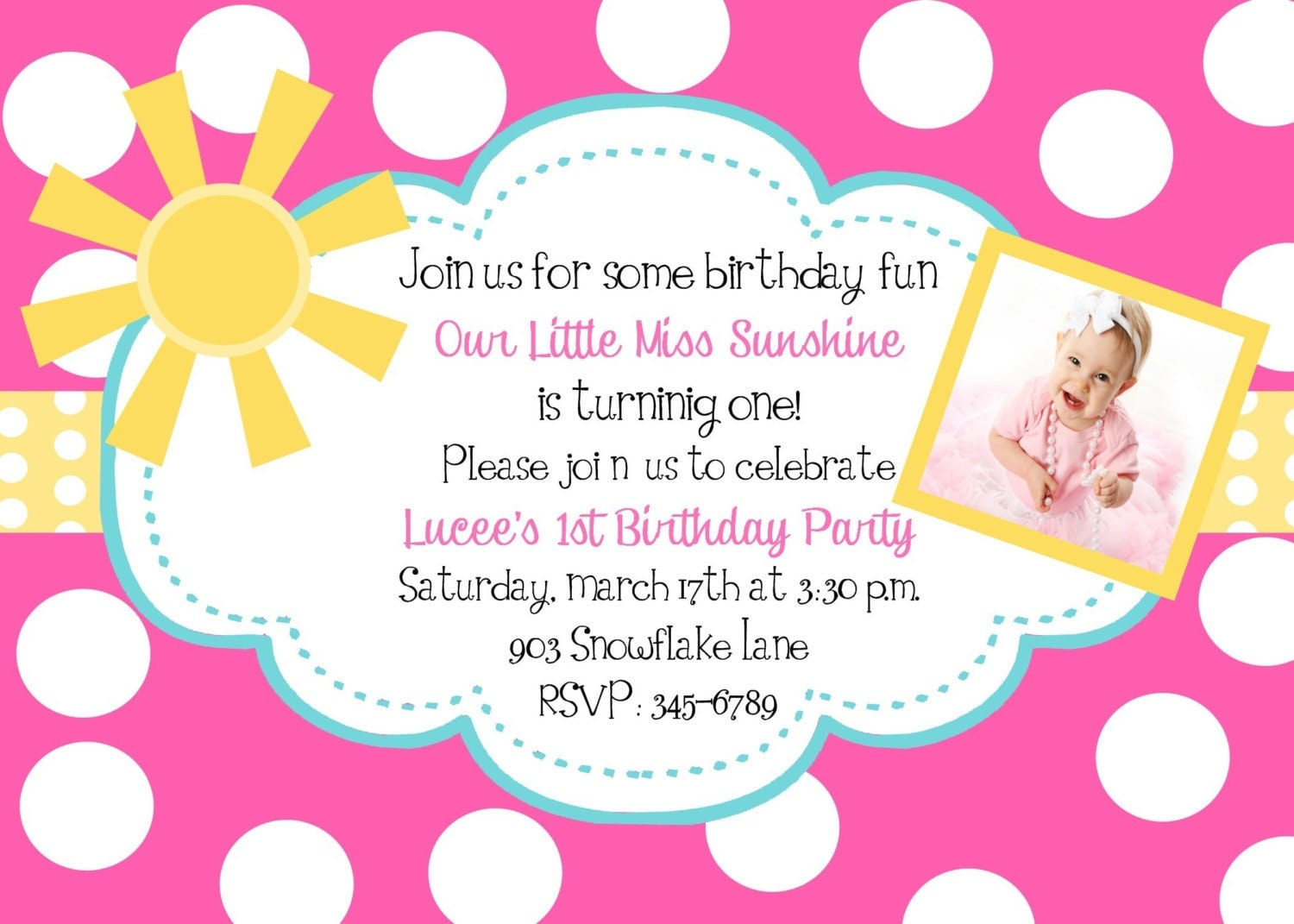 Sunshine Birthday Party invitations printable or by noteablechic