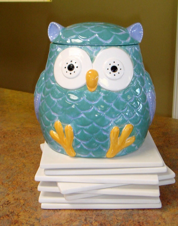 Items Similar To Chubby Owl Cookie Jar Ceramic Hand Painted On Etsy