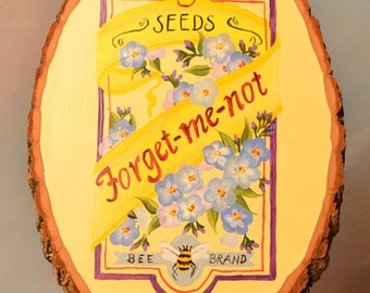 Forget-me-not flower seed package wood plaque decorative painted wood sign going away gift
