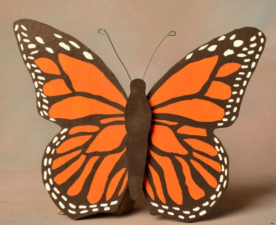Wooden Monarch Butterfly yard art woodwork sign