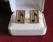 Musical Note Gold Swank Cufflinks 1950 Vintage