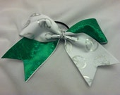 """3"""", 3 inch cheer cheerleader bow with kelly green and silver peace signs"""