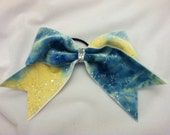 """3"""", 3 inch cheer cheerleader bow with crushed velvet, baby blue and yellow tie dye with glitter"""